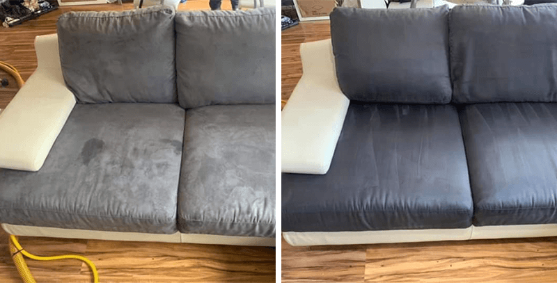 Delicate fabric cleaning before and after
