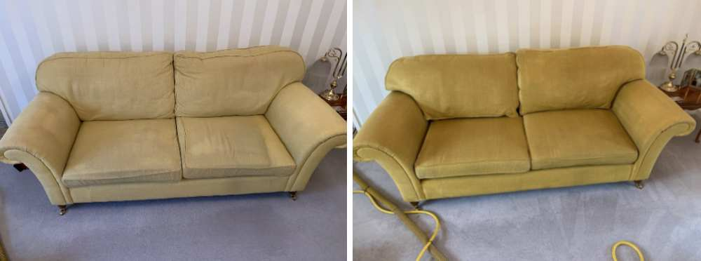 Before & After Cleaning The Yellow Sofa